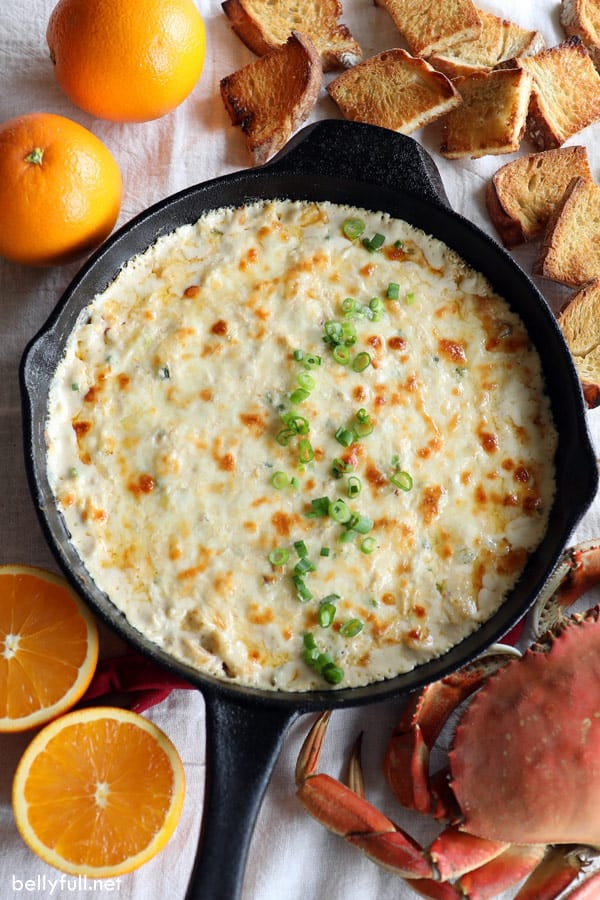 overhead picture of crab rangoon dip in skillet