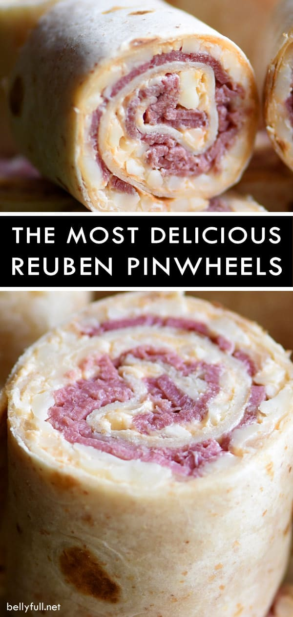 close up picture of inside Reuben Pinwheels appetizer