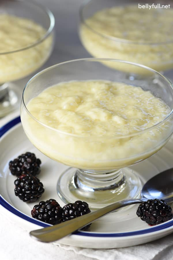 picture of tapioca pudding in footed glass dessert cup