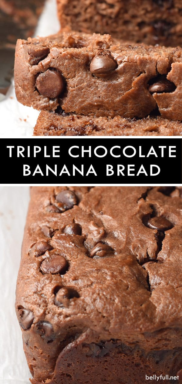 homemade triple chocolate banana bread