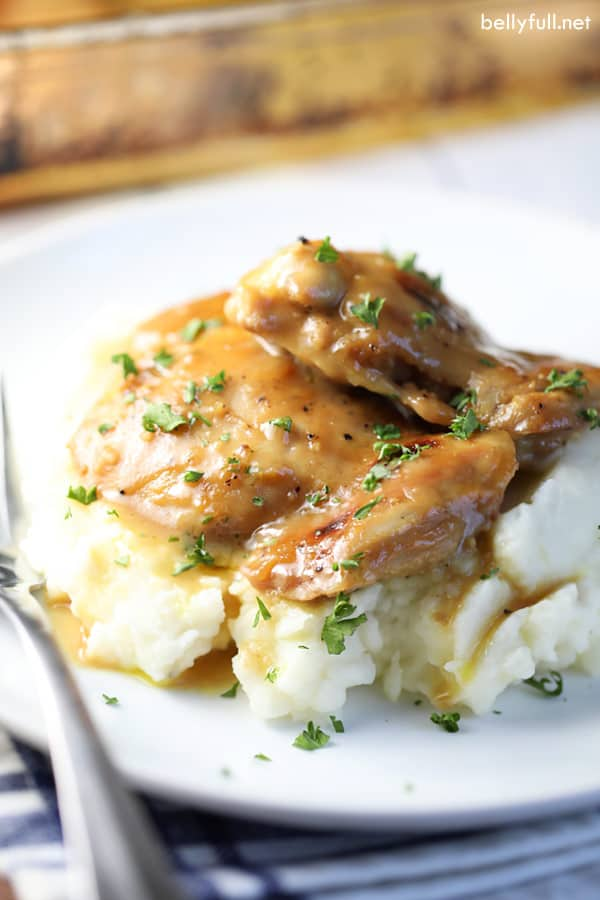 baked maple mustard chicken thighs over mashed potatoes