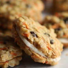 close up of sandwiched carrot cake cookies
