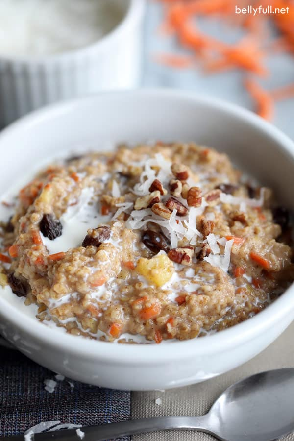 bowl of carrot cake steel cut oatmeal