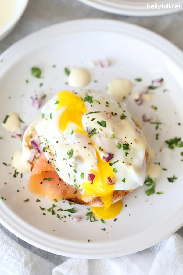 Lighter Eggs Benedict with Smoked Salmon overhead picture