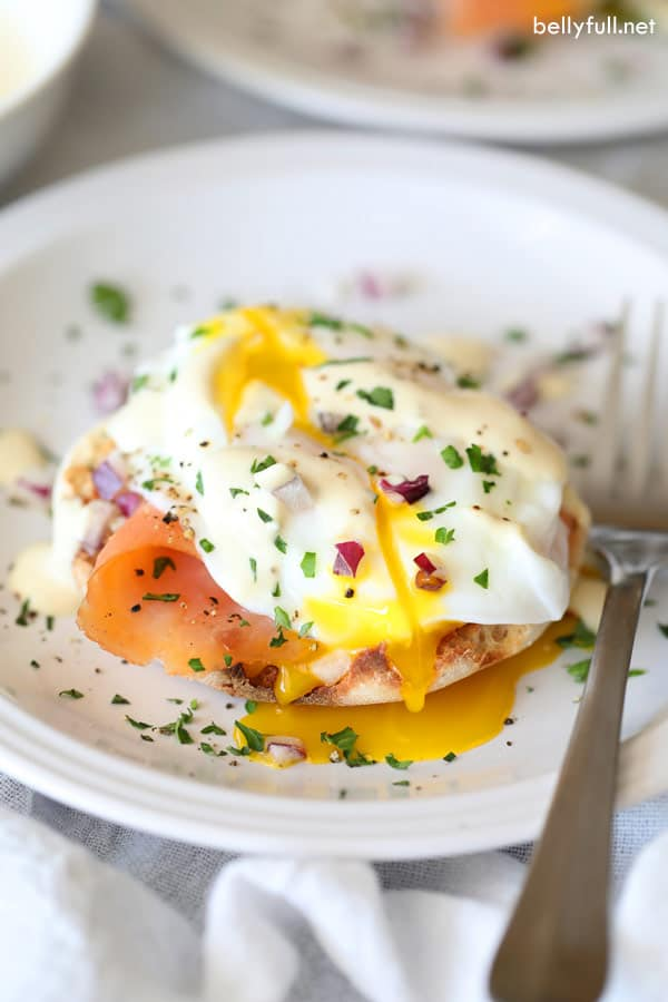 Eggs Benedict with Smoked Salmon sliced open