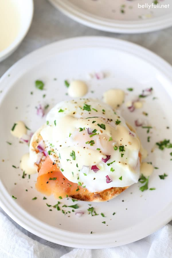 Eggs Benedict with Smoked Salmon on a white plate