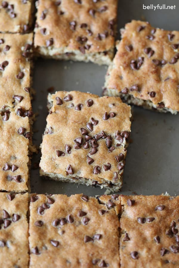 Chocolate Chip Banana Cake square slice