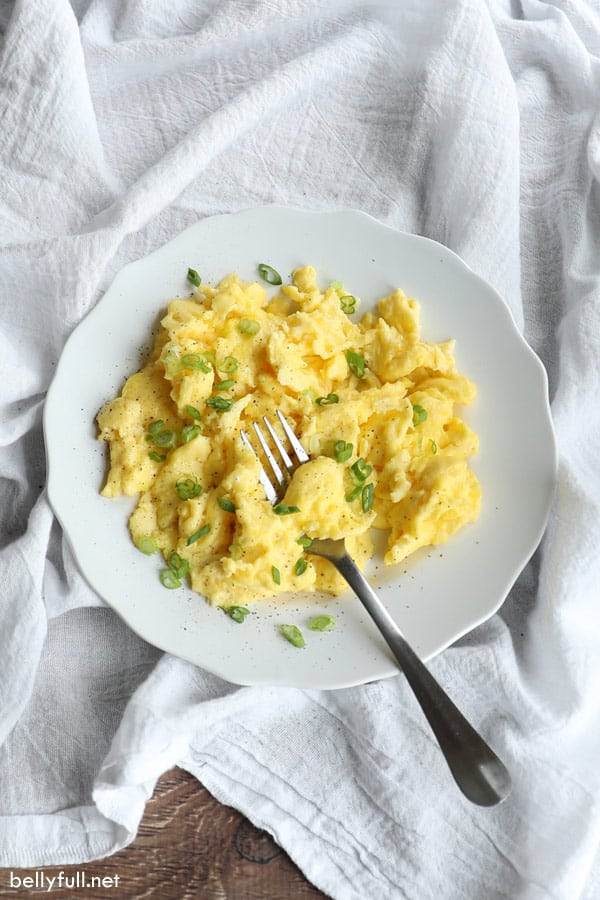 plate of fluffy scrambled eggs