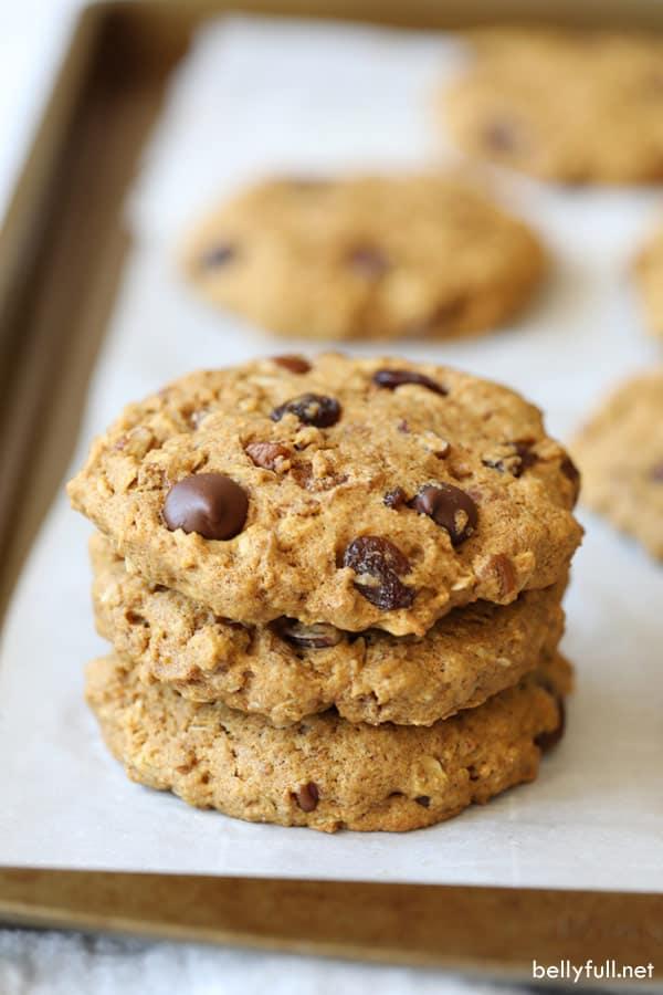 stack of three baked Breakfast Cookies
