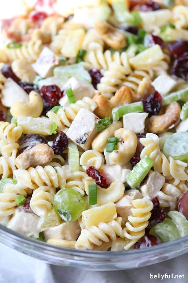 Cashew Chicken Pasta Salad in serving bowl
