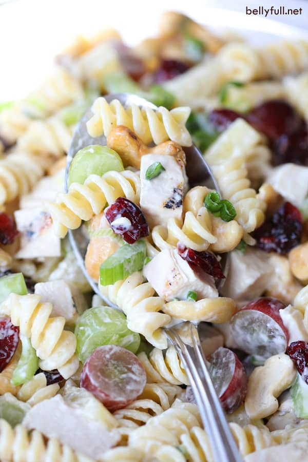 Cashew Chicken Pasta Salad on serving spoon