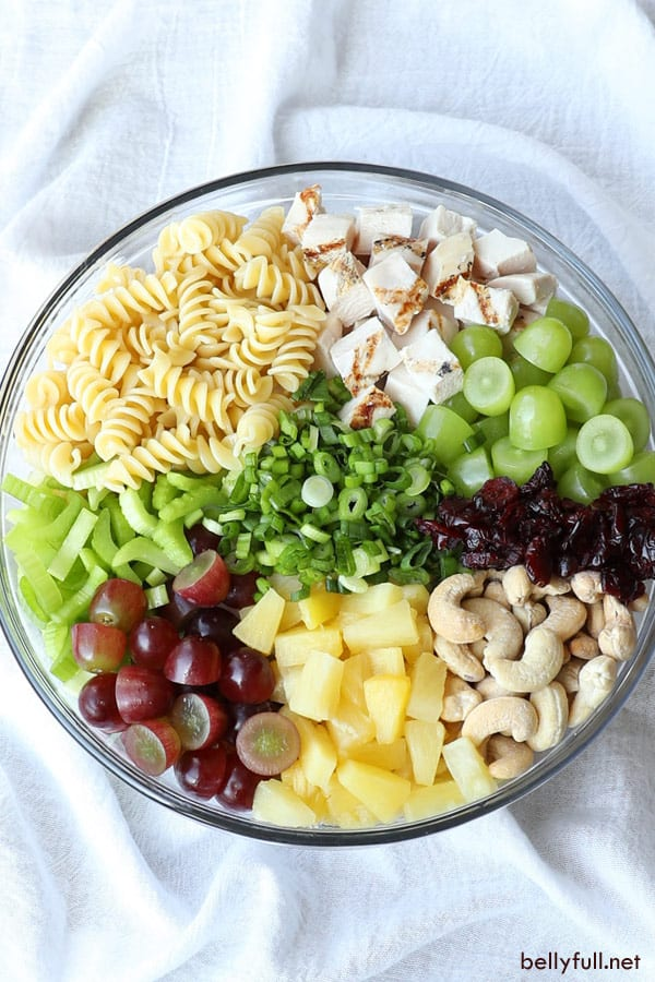 overhead picture of Cashew Chicken Pasta Salad ingredients