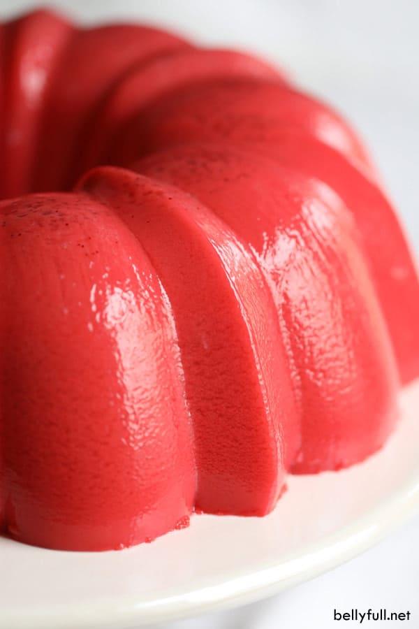 side view of strawberry jello mold