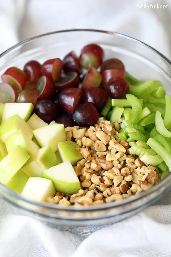 Waldorf Salad ingredients in glass bowl