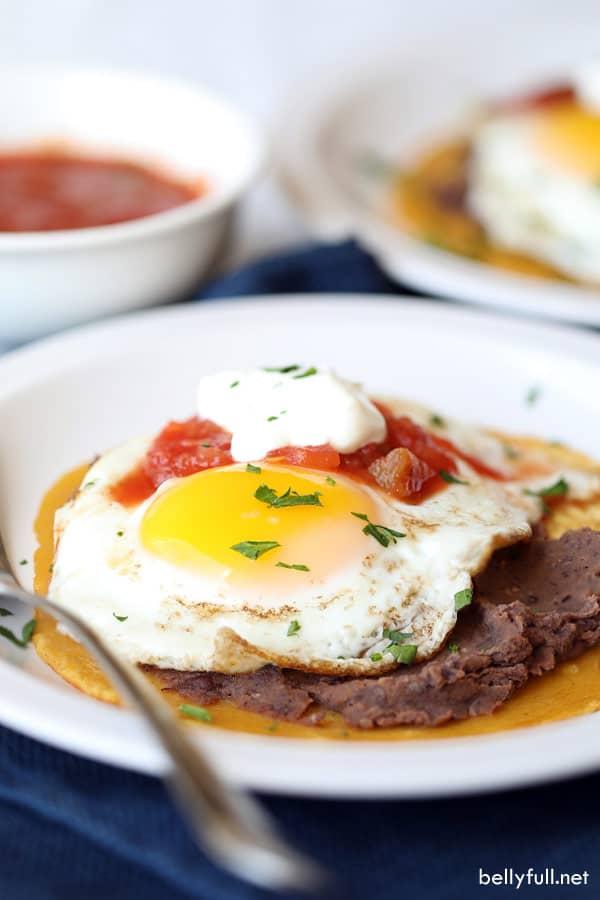 Huevos Rancheros on white plate