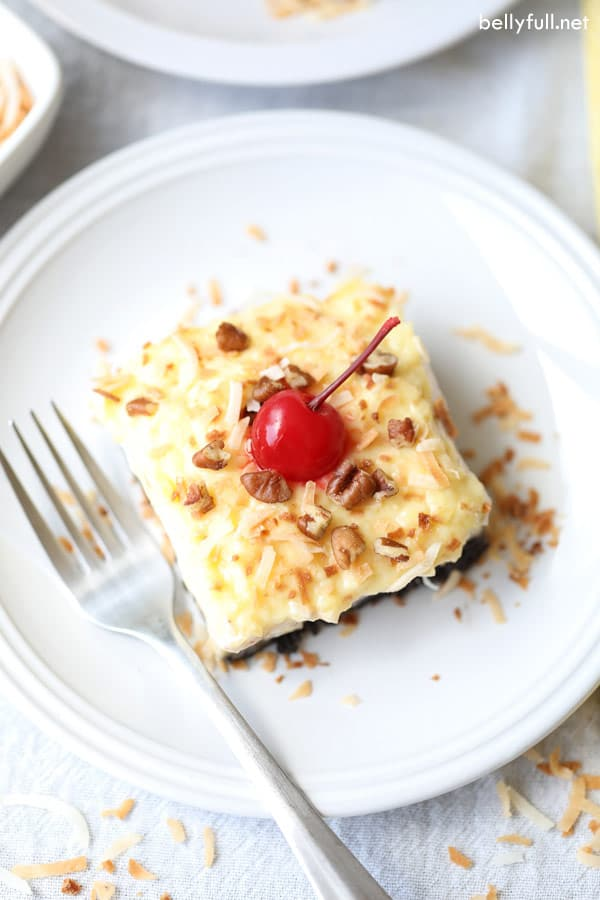 No Bake Banana Split Lush Dessert slice