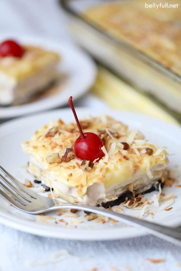 No Bake Banana Split Lush Dessert on white plate