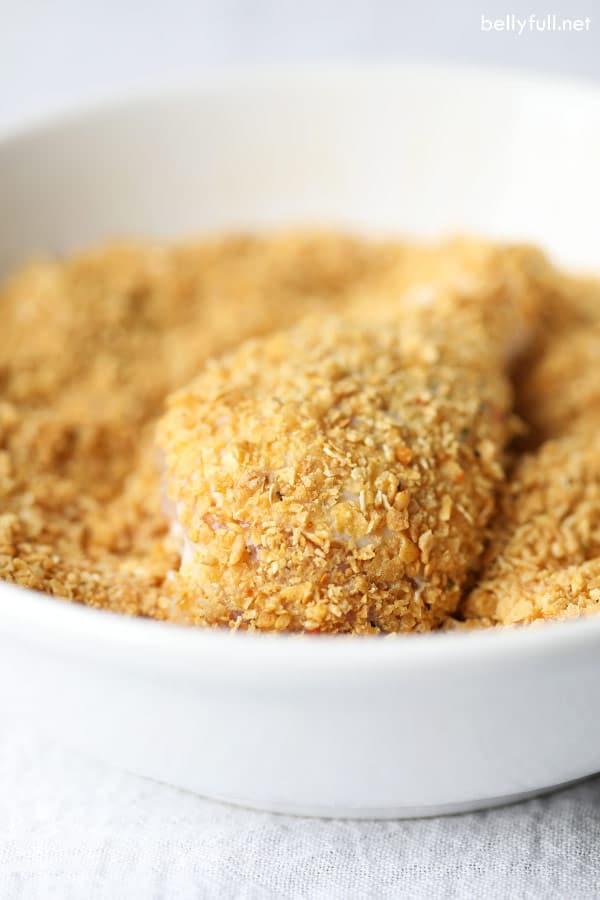 Chicken legs in corn flake crumbs