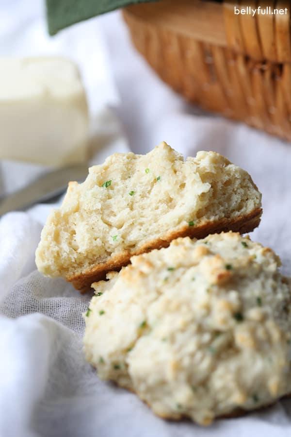 Drop Buttermilk Biscuits sliced open