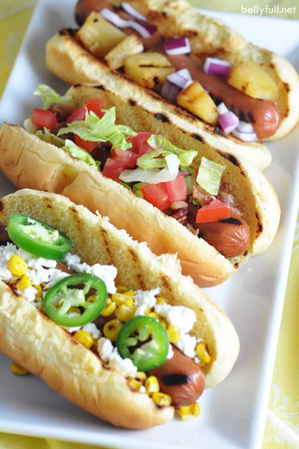 different grilled hot dogs for party