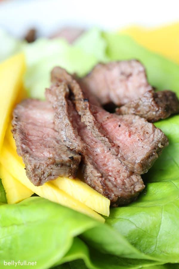 Grilled Jerk Steak and Mango Lettuce Cups