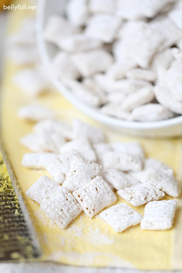 Lemon Muddy Buddies on yellow napkin