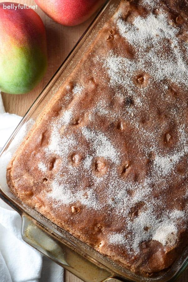 Mango Coffee Cake in baking dish