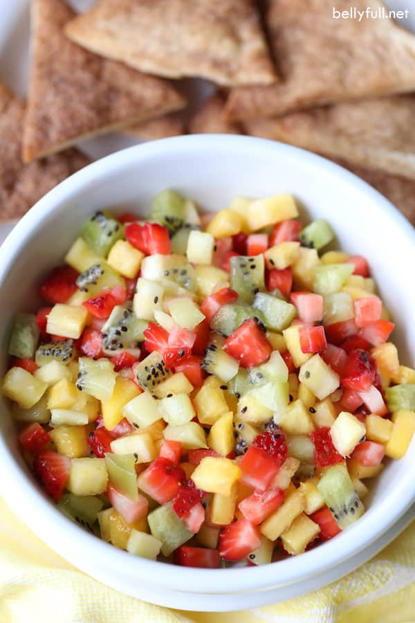 Fresh Fruit Salsa in white bowl