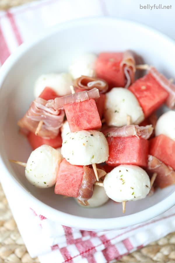 Watermelon Mini Kabobs in bowl