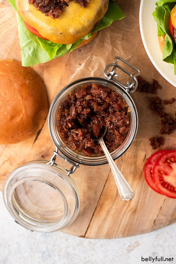 top down picture of Bacon Jam in a jar