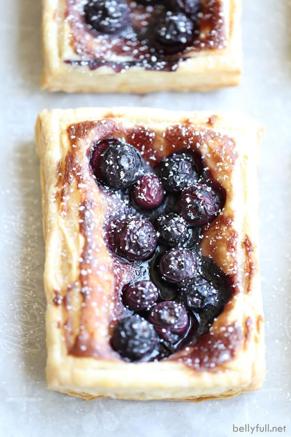 Blueberry Puff Pastry Tart with powdered sugar