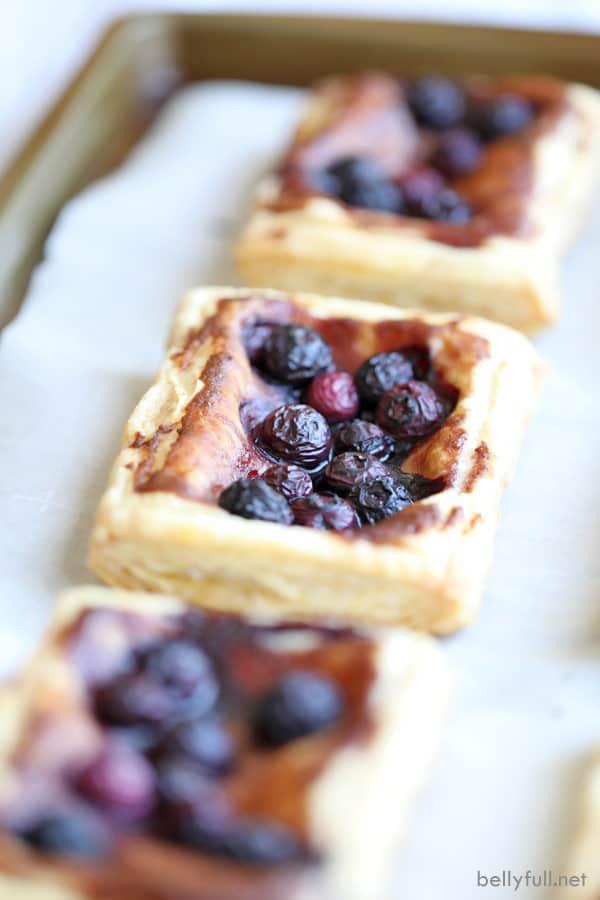 Blueberry Puff Pastry Tart on baking sheet
