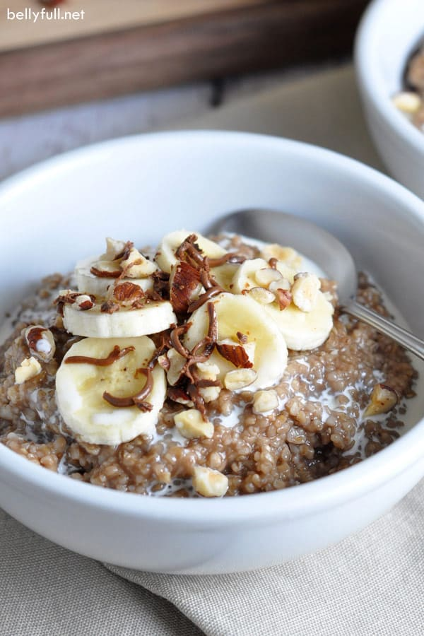Chocolate-Almond Steel Cut Oatmeal in white bowl