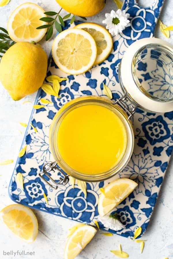 overhead picture of Lemon Curd in jar