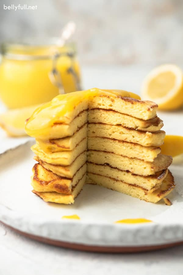 sliced stack of Ricotta Pancakes