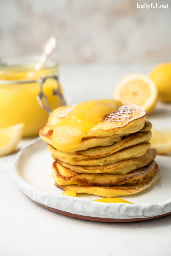 tall stack of ricotta pancakes