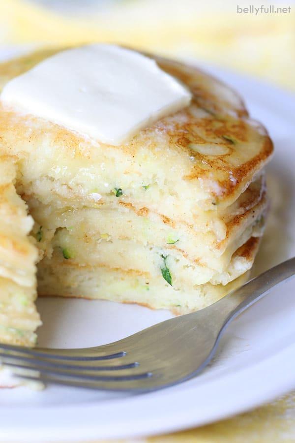 Zucchini Ricotta Pancakes stack