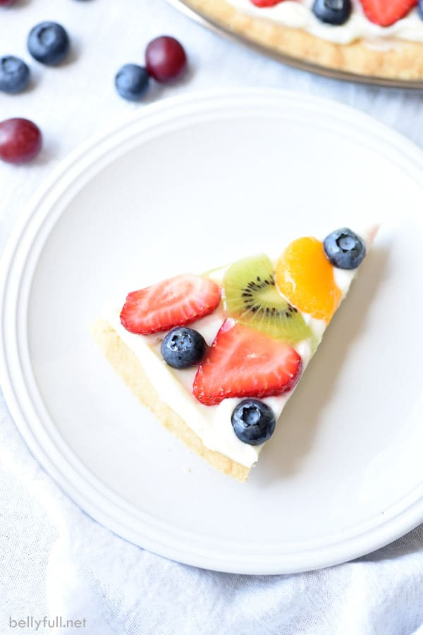 sliced Dessert Fruit Pizza from overhead