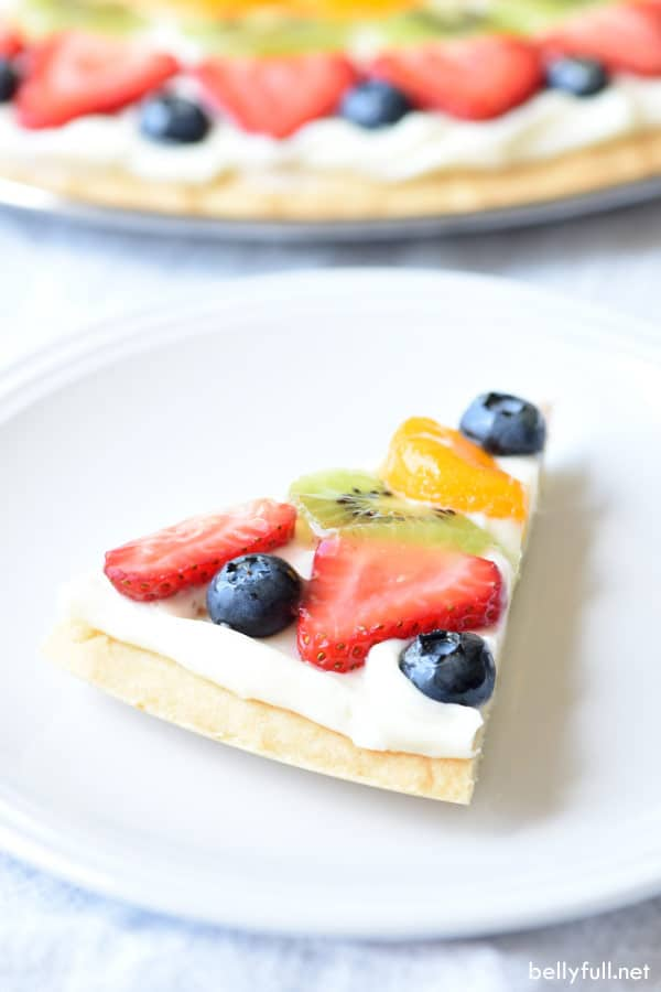 sliced Dessert Fruit Pizza side angle