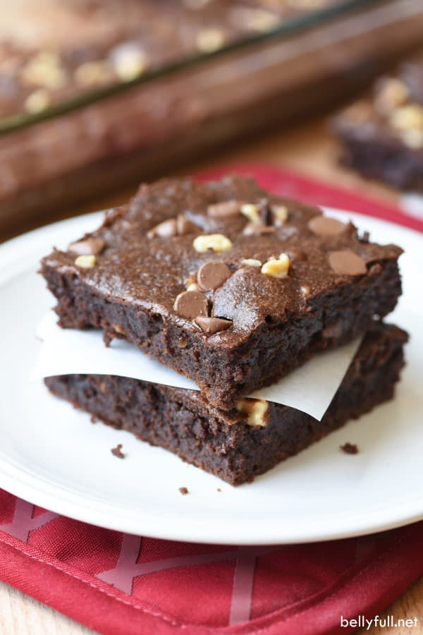 One-Bowl Brownies cut and stacked