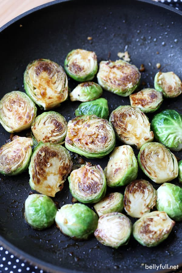 Sauteed Brussels Sprouts in pan