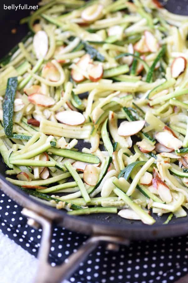 Skillet Zucchini Matchsticks in pan