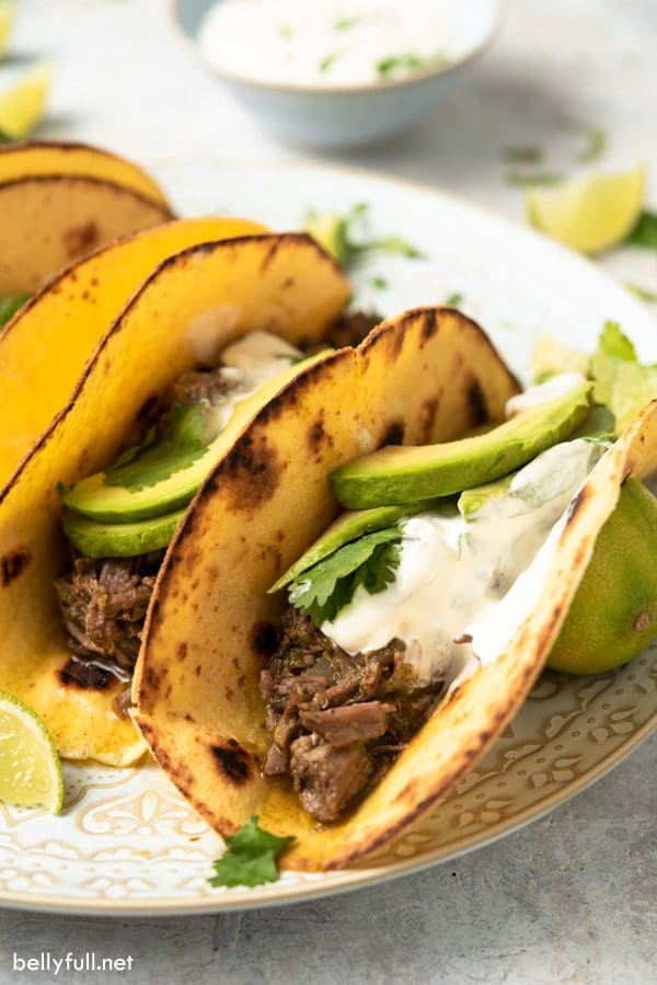 Slow Cooker Salsa Verde Beef Tacos on plate