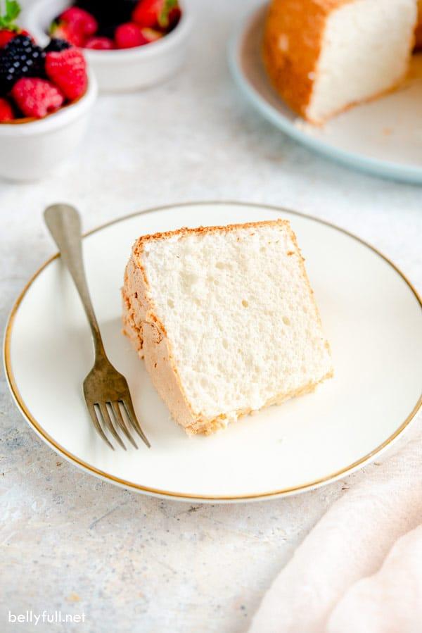 Angel Food Cake slice on white plate