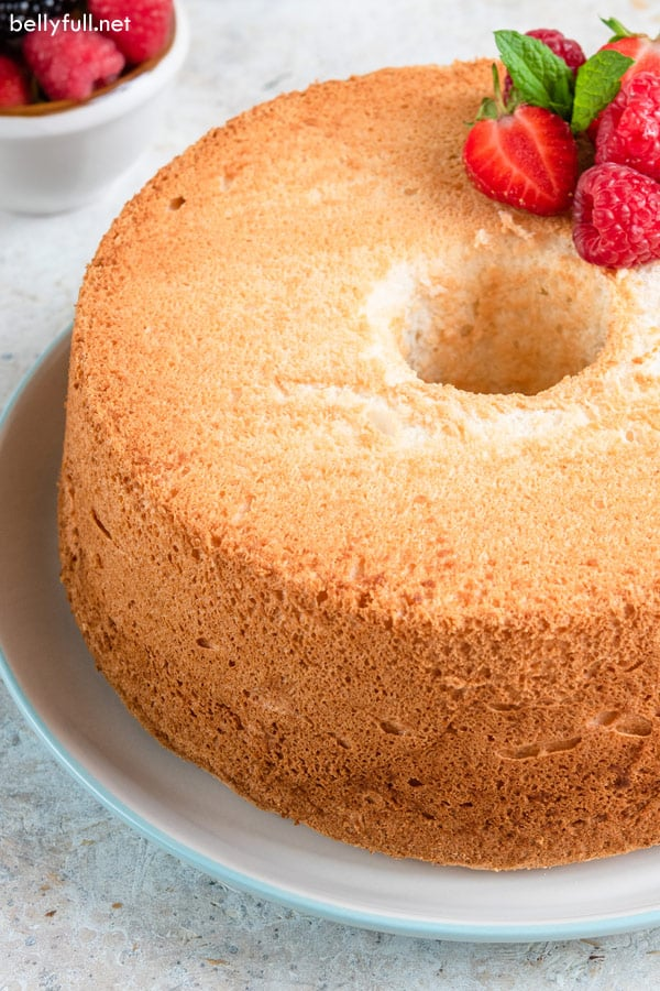close up of whole homemade Angel Food Cake