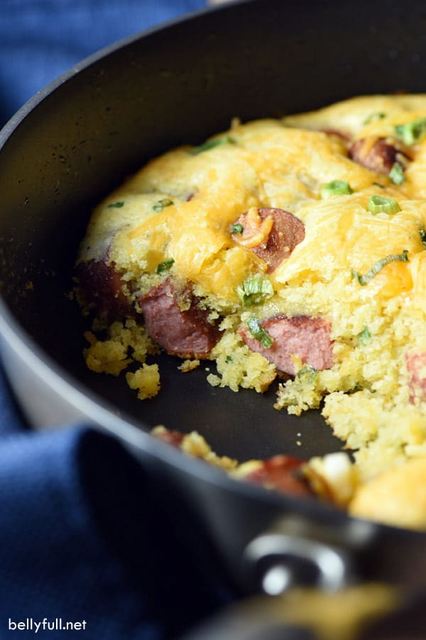 casserole with cornbread and hot dogs