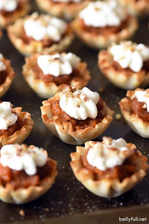 Pumpkin Pecan Strudel Cups with whipped cream