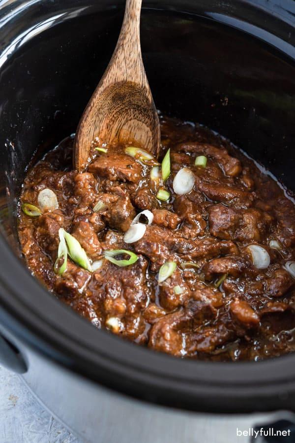 Slow Cooker Mongolian Beef in crock pot
