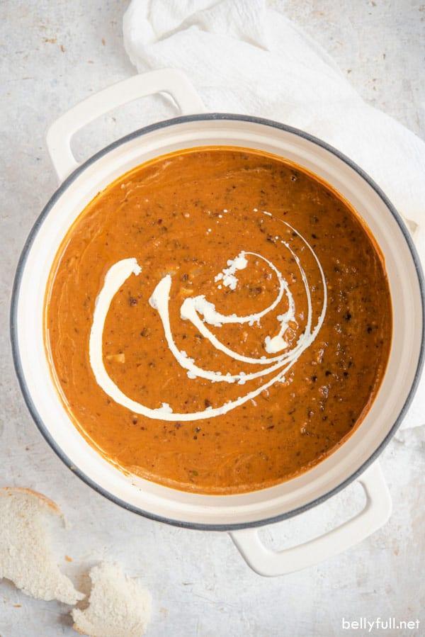 pumpkin and black bean soup in pot