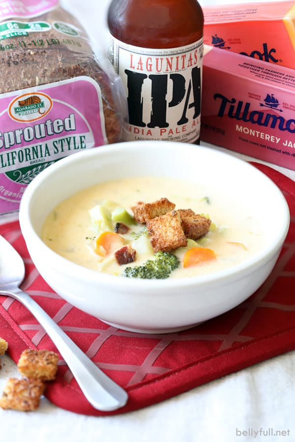 beer and cheese soup in serving bowl
